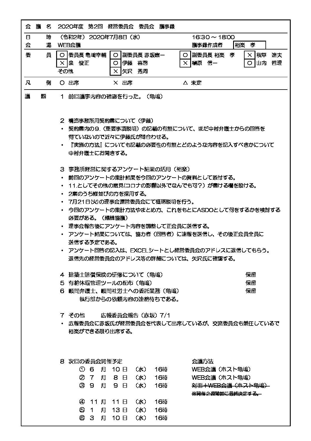 2020年度 第二回 経営委員会議事録(7/8)|ASDO
